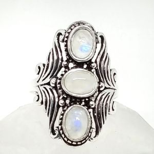 Triple Real Moonstone Silver Artisan Ring sz 8.5